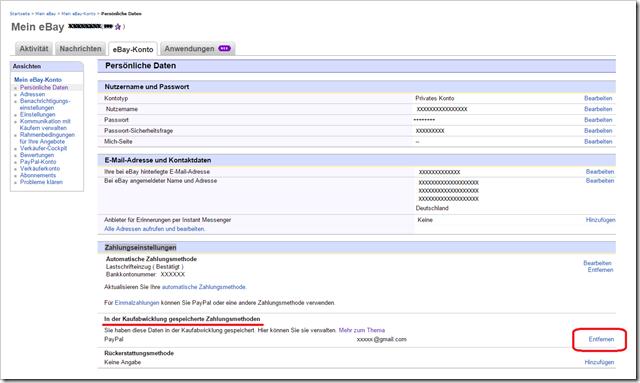 Bei ebay paypal zahlung ohne passwort entfernen