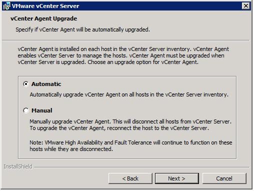 VMware vCenter Server Installer - vCenter Agent Upgrade