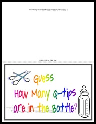 Sibling Shower Qtips in the Bottle Game - table tent card