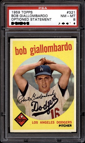 1959 Topps 321A bob giallombardo with option statement front