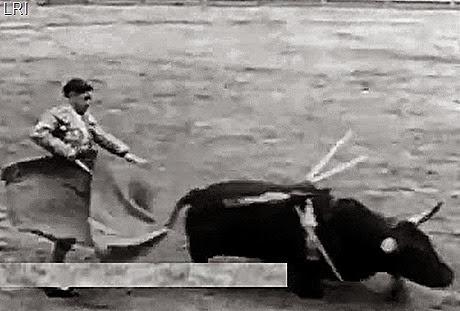 Caida del toro de Manolo Bienvenida