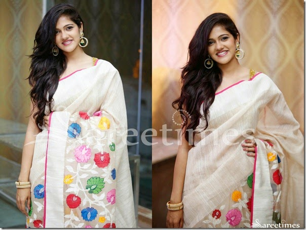 Simran_Choudary_White_Floral_Designs_Saree