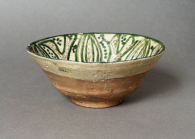 Bowl Iran Bowl, 11th or 12th century Ceramic; Vessel, Earthenware, engobe, incised, underglaze, slip-painted, sgraffiato, 3 1/8 x 7 1/2 in. (7.94 x 19.05 cm) The Nasli M. Heeramaneck Collection, gift of Joan Palevsky (M.73.5.150) Art of the Middle East: Islamic Department.
