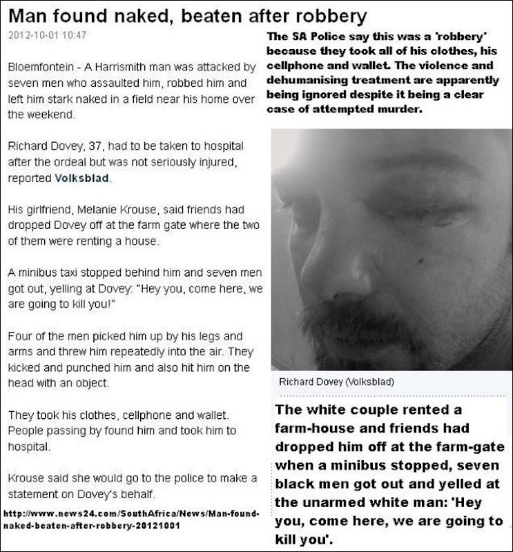 DOVEY RICHARD beaten 7 bl males who said they would kill him Sept 30 2012 FARM HARRISMITH