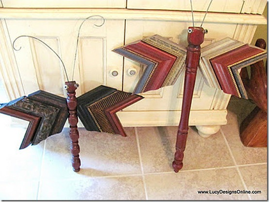 friday feature--dragonfly made from wood spindle table leg and picture frame molding from lucy design blog