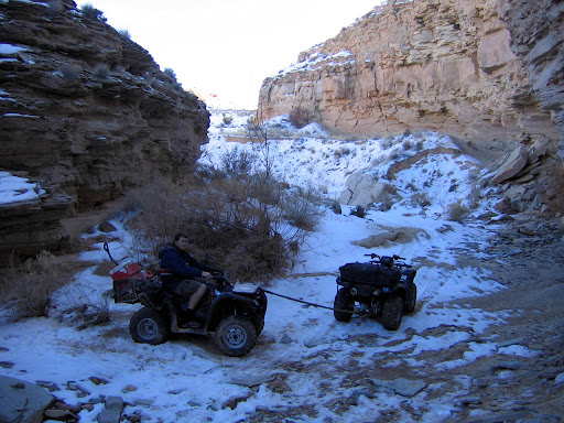 We brought my wife's ATV to help pull my mangled machine out of the canyon