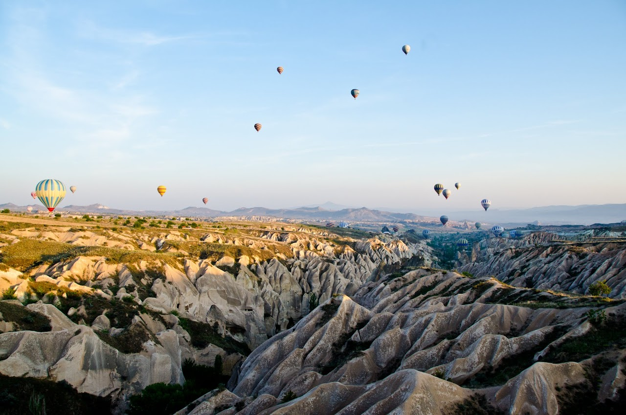 Hot air balloons over Rose Valley Cappadocia