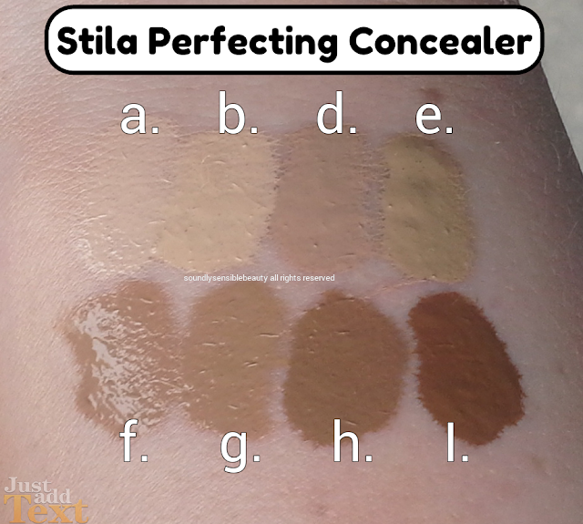 Stila Perfecting Concealer Review & Swatches of Shades a. b. d. e. f. g. h. i. c. j.