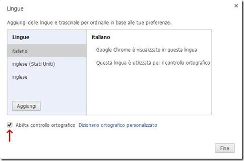 Chrome Abilita controllo ortografico
