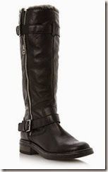 Dune Black Leather Faux Fur Lined Winter Boot