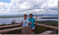 Syl and Tricia in firetower atop Mount Kineo