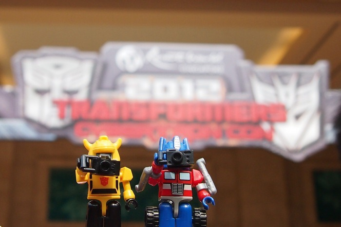 Optimus Prime and Bumblebee Kreon at Cybertron Con 2012