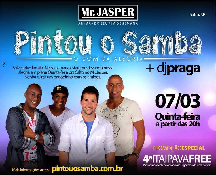 Grupo Pintou o Samba + DJ Praga no Mr. Jasper em Salto