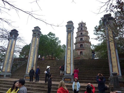 Our first stop Thien Mu Pagoda, the oldest in Hue. The seven tiers of the Stupa represent the reincarnations of Buddha.