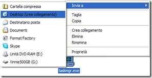 Creare collegamento sul desktop del Task Manager