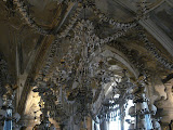 Chandelier made of bones and skulls at the Sedlec Ossuary