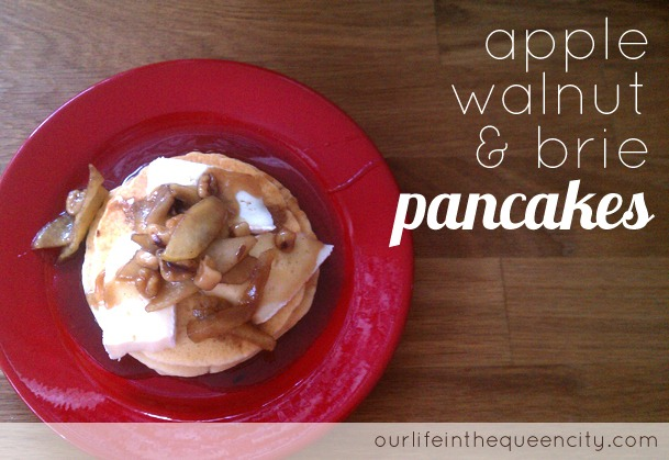 apple, walnut, & brie pancakes