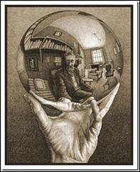 """""""Uma Mão Com a Esfera Reflectora""""  de Escher"""