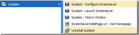 Mpq Builder screensaver creato disponibile nel menu Tutti i programmi Start