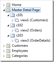 Master Detail Page with three new data views in individual containers after pasting.