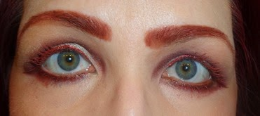 wearing Marsala Mascara and Marsala Metalshine Liquid Liner