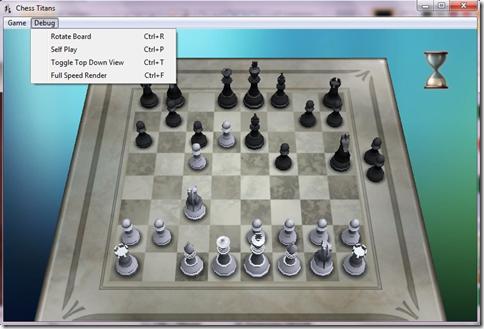 Chess Titans menu segreto con funzioni e trucchi Windows Games Tweaker