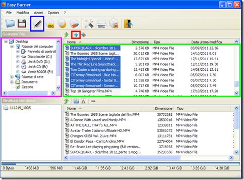 Easy Burner selezione file da masterizzare