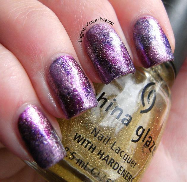 amethyst purple galaxy nail art