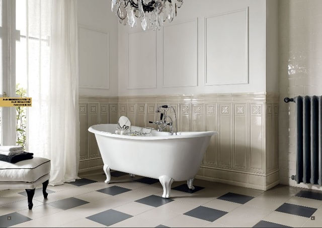 My new old life my new old house bagno padronale - Boiserie in ceramica per bagno ...