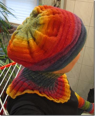 Set aus pflanzengefärbter handgesponnener Regenbogenwolle