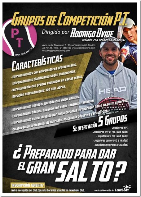 Grupos Competición Padel Training Club 2013 dirigidos por el técnico Rodrigo Ovide.