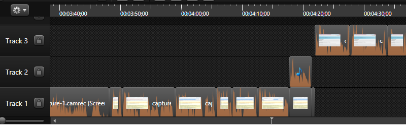 Camtasia timeline with lots of editing