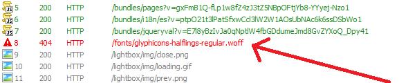 Error 404 al descargar archivo woff