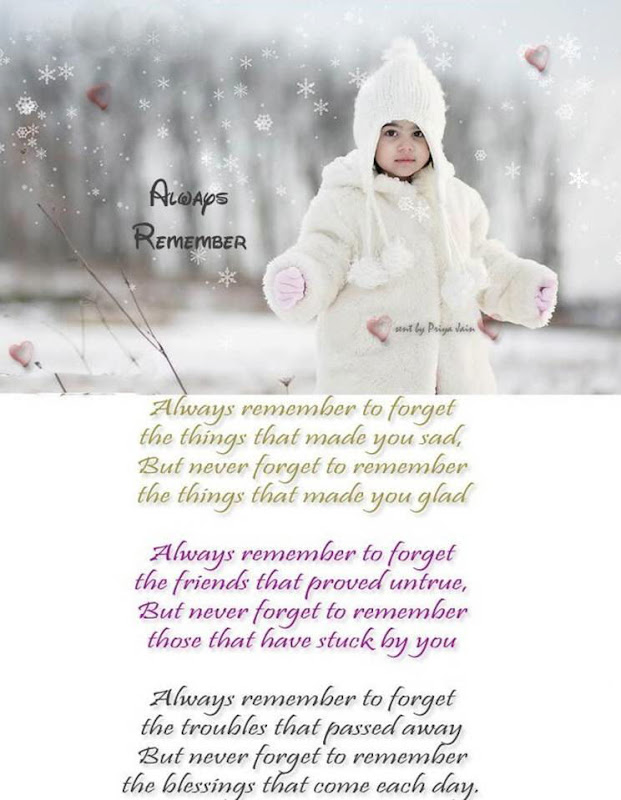 Always Remember to Forget..... But Never Forget to Remember