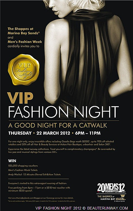 MENS FASHION WEEK 2012 VIP NIGHT AT MARINA BAY SANDS SALE Fashion Show Tickets  Andy Warhol  15 Minutes Eternal Exhibition