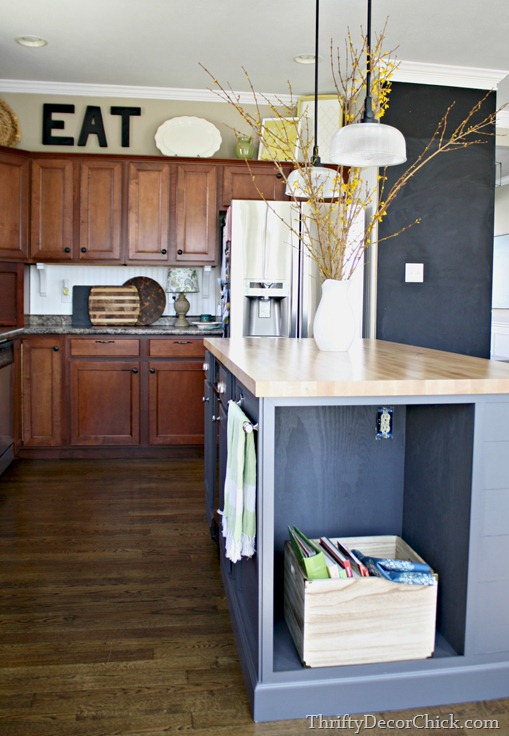 The Backsplash: Other Than Tile from Thrifty Decor on beadboard kitchen walls, beadboard butcher block kitchen, beadboard kitchen cabinets,