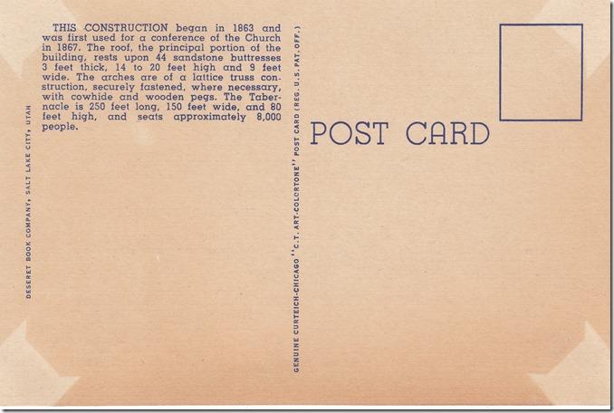 Construction of Tabernacle Roof, Salt Lake City, Utah Postcard pg. 2 - 1940