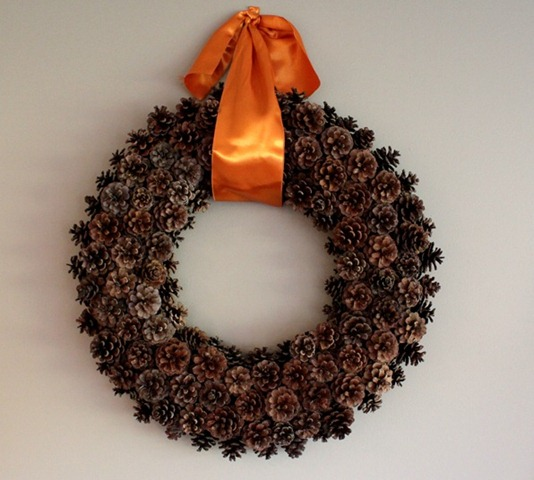 pine cone wreath via just a girl