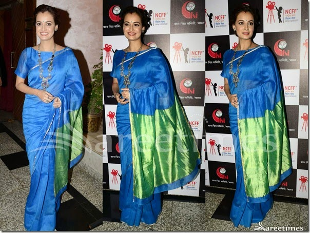 Dia_Mirza_Blue_Traditional_Saree