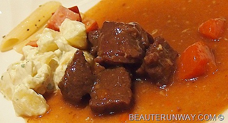 Parkroyal Beach Road Hotel Beef Stew with carrots paired with potato salad and pasta from Plaza Brasserie Salad Bar