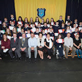 First year prize winners at the Mulroy College prize giving on Thursday night last with seated from left Nicola McBride, Martin Davis, Parmerica, Ian McGarvey, Donegal Mayor, Jason Black, guest Speaker, Fiona Temple Principal, Eileen McGettigan, Caoimhe Beagley, Tony McCarry, Parents Committtee, Scatha Farrell, BOM and Catherine McHugh, Deputy Principal.  Photo Clive Wasson.