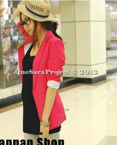 long sleeve blazer-red