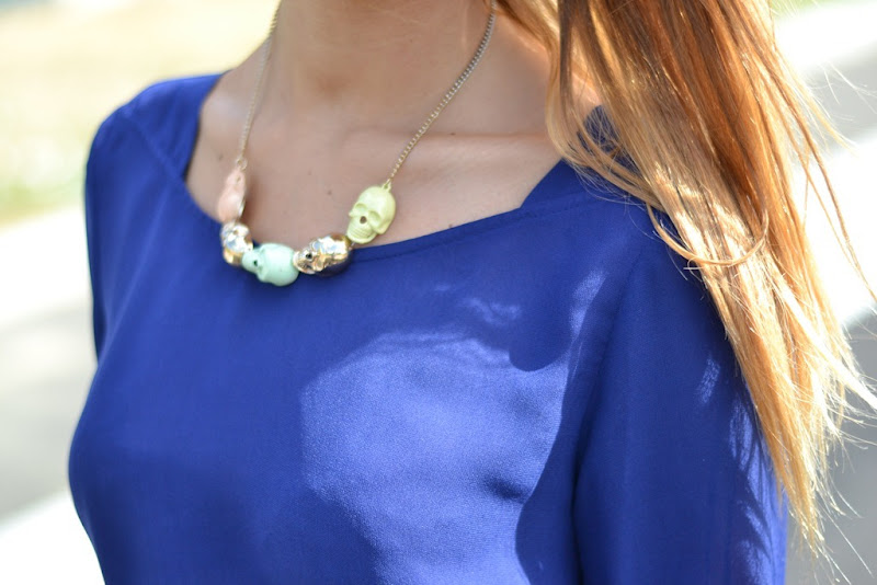 Zara blouse, Zara royal blue blouse, Top Shop, Top Shop jewels, Top Shop London, Top Shop Skull, Skull necklace