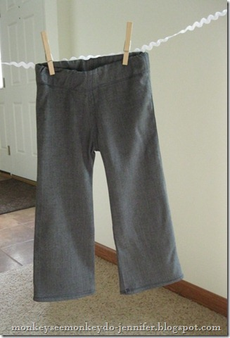 handmade gray children's dress pants with elastic waist