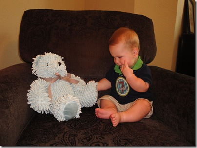 2.  Knox playing with bear