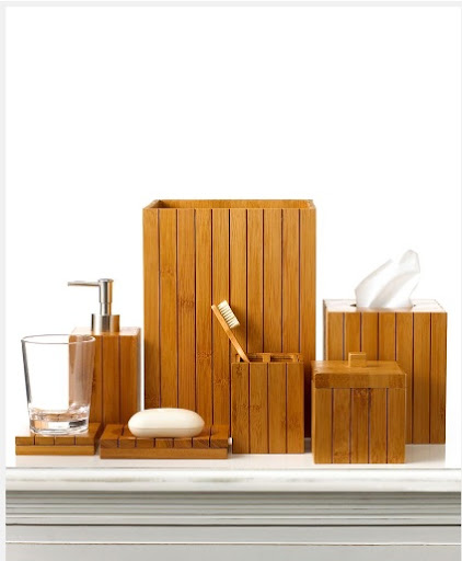 It is very easy for the bathroom to look untidy, with soap dishes, containers, cups, etc. everywhere. This set of bathroom necessities will help keep the room looking sleek and unified.  (Martha Stewart for macys.com)