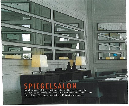 The mirrors in this tear sheet, space designed by Karl Lagerfeld and shot by Francois Baudot, were my inspiration for the living room mirrors.