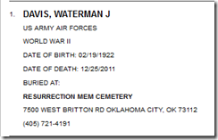 Waterman Davis Nat., Grave Locator