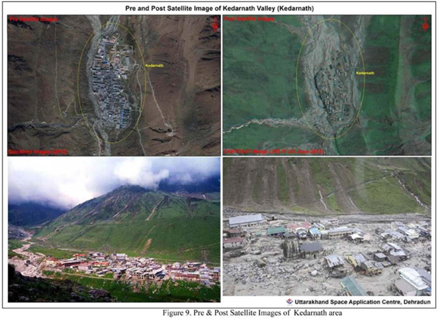 Pre and post-flood satellite images of Kedarnath, Uttarakhand area, 23 June 2013. Photo: Uttarakhand Space Application Centre, Dehradun