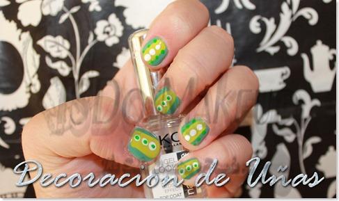decoración de uñas en tonos verdes